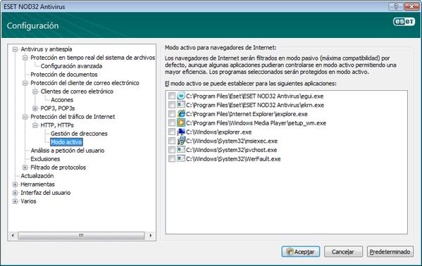 Nod32 ea config epfw browsers mode Modo activo para navegadores de Internet