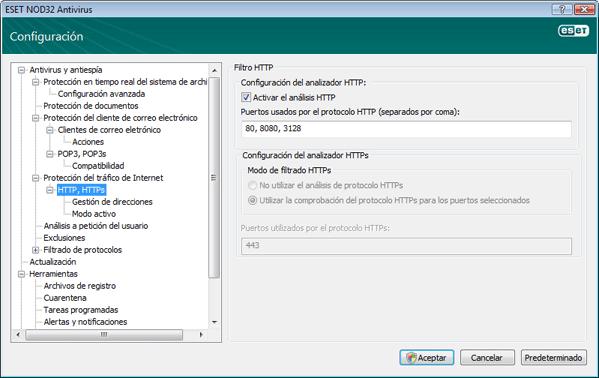 Nod32 ea config epfw scan http Filtro HTTP