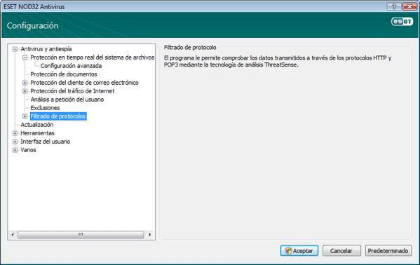 Nod32 ea config epfw scan main page Filtro de protocolos