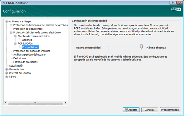 Nod32 ea config epfw scan pop3 comp Compatibilidad