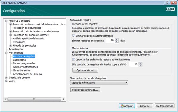 Nod32 ea config logs Archivos de registro