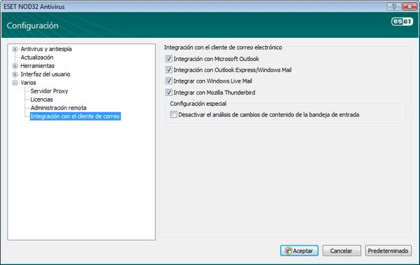 Nod32 ea config mailplugins Integración del programa cliente