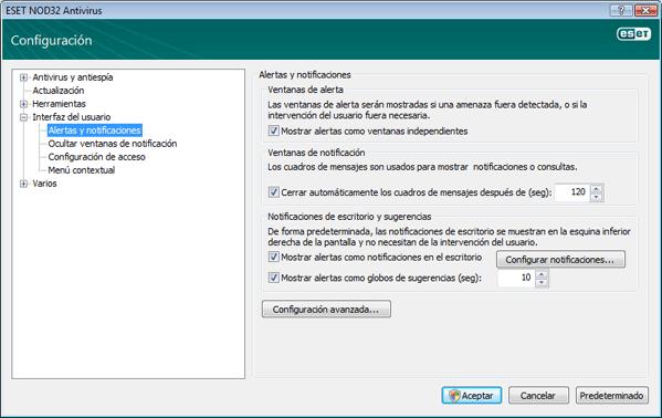 Nod32 ea config notice Alertas y notificaciones