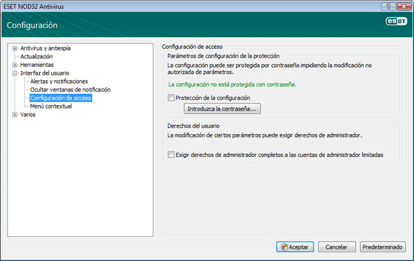 Nod32 ea config password Protección de la configuración