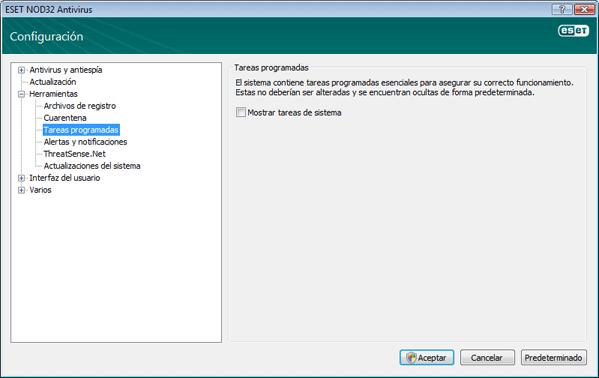 Nod32 ea config scheduler Tareas programadas