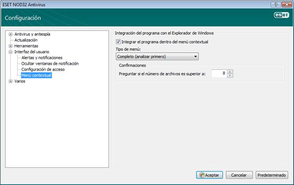 Nod32 ea config shellext Menú contextual