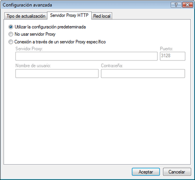 Nod32 ea config update connection Servidor HTTP Proxy