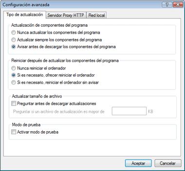 Nod32 ea config update mode Modo de actualización