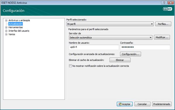 Nod32 ea config update source Configuración de actualizaciones