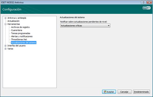 Nod32 ea config windows update Actualización del sistema operativo   configuración