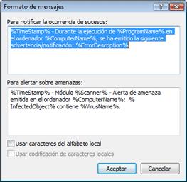 Nod32 ea format notice Formato de los mensajes