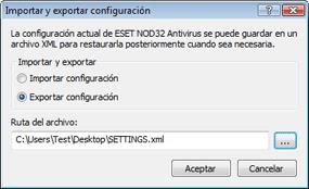 Nod32 ea importexport config Importar y exportar configuración