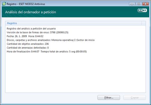 Nod32 ea log window Archivos de registro: ventana nueva
