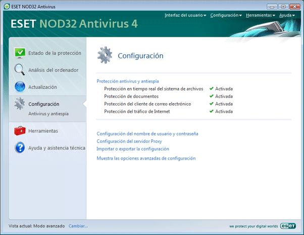 Nod32 ea page advanced settings Configuración   Modo avanzado