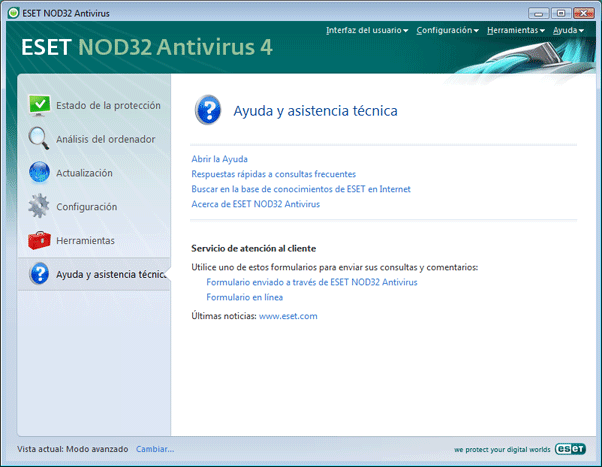 Nod32 ea page help Ayuda y soporte