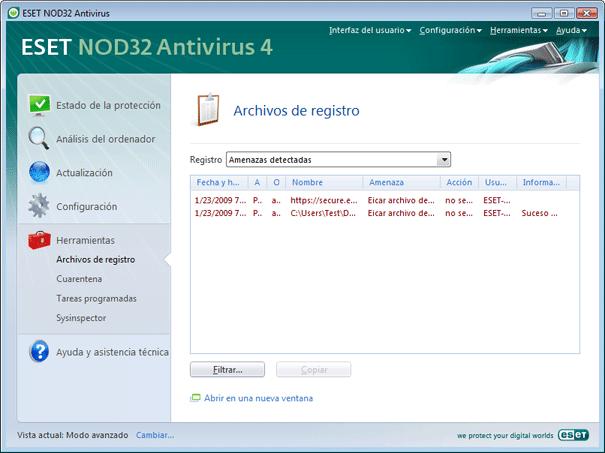 Nod32 ea page logs Archivos de registro