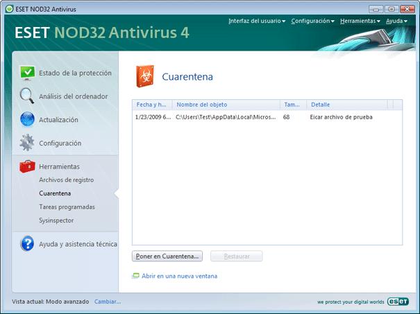 Nod32 ea page quarantine Copiar a Cuarentena