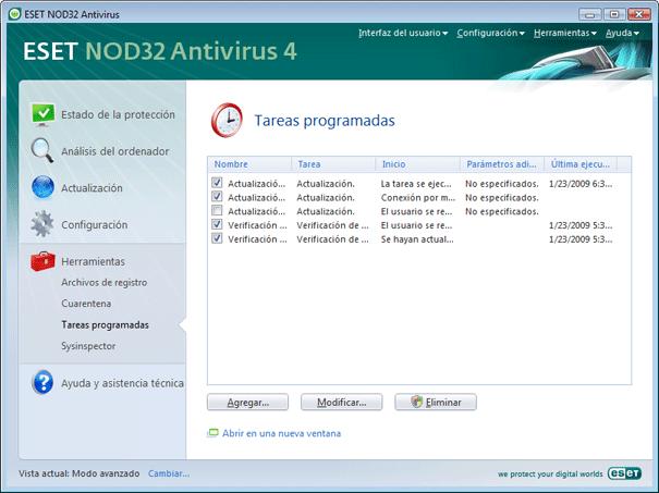 Nod32 ea page scheduler Tareas programadas