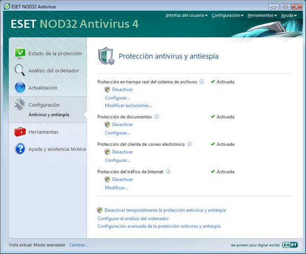 Nod32 ea page settings antivirus Configuración   Modo avanzado