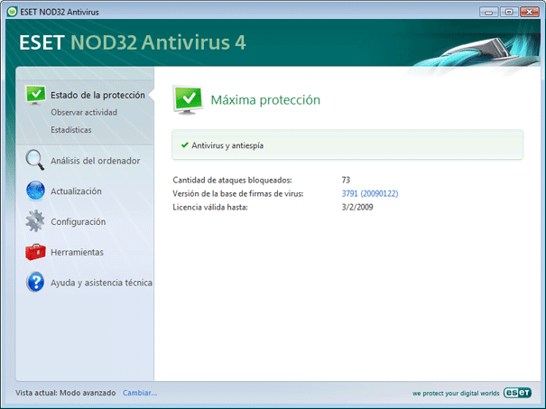 Nod32 ea page status Estado de la protección