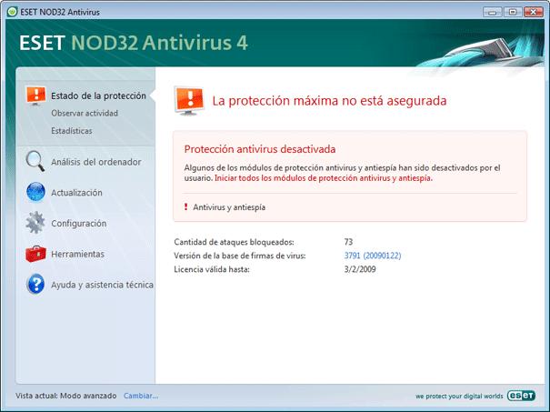 Nod32 ea page status 02 Qué hacer si el programa no funciona correctamente