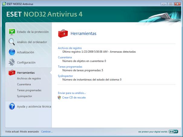 Nod32 ea page tools Herramientas