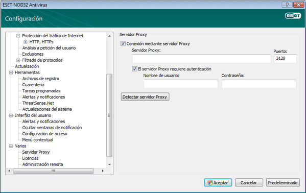 Nod32 ea proxy server Configuración del servidor Proxy