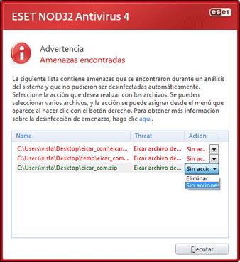 Nod32 ea scan clean Detección de amenazas