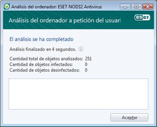 Nod32 ea scan finishwindow El análisis ha finalizado correctamente