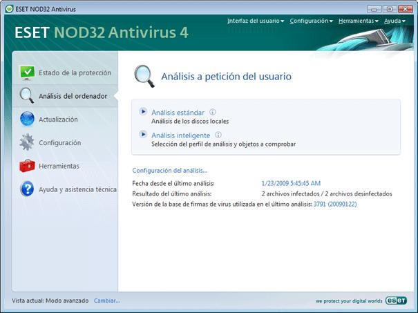 Nod32 ea scanner main Análisis del ordenador