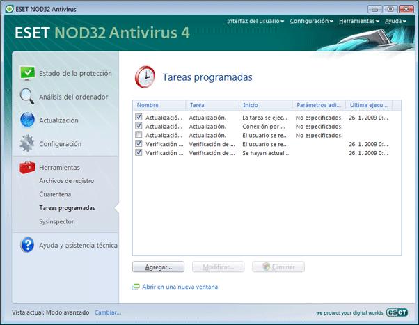 Nod32 ea scheduler info Información de tareas programadas