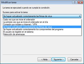 Nod32 ea scheduler task Creación de tareas nuevas