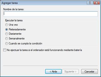 Nod32 ea scheduler type Agregar tarea: tipo de tarea