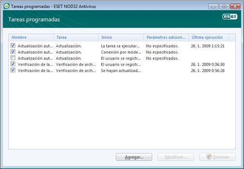Nod32 ea scheduler window Tareas programadas: nueva ventana