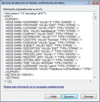 Nod32 ea support detect Confirmación de datos enviados