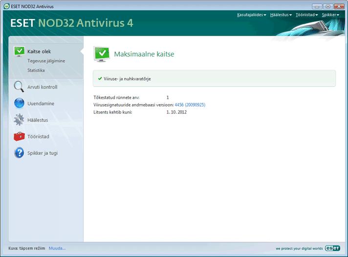 Nod32 ea advanced mode Täpsem režiim
