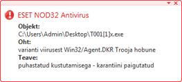 Nod32 ea antivirus behavior and user interaction Viirusetõrje käitumine ja kasutaja sekkumine