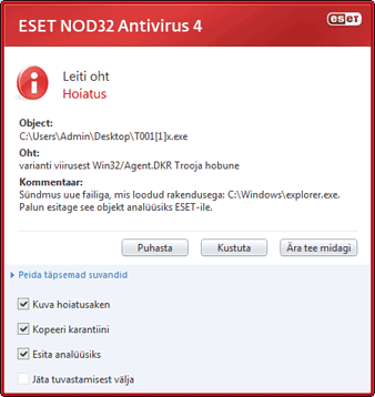 Nod32 ea antivirus behavior and user interaction 01 Sissetung on tuvastatud