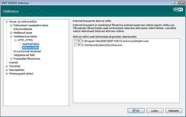 Nod32 ea config epfw browsers mode Interneti brauserite aktiivne režiim
