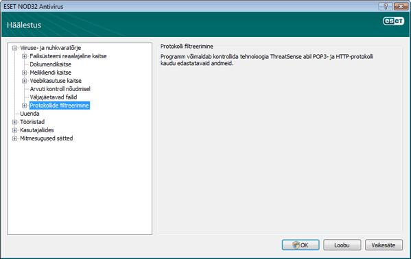 Nod32 ea config epfw scan main page Protokolli filtreerimine