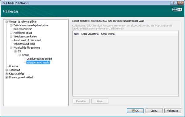 Nod32 ea config epfw ssl exclude Väljajäetavad serdid