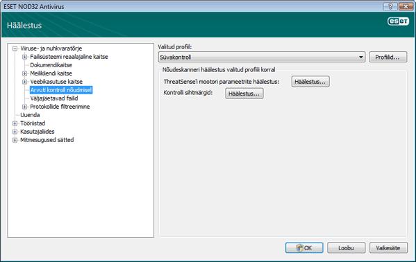 Nod32 ea config scan Arvuti kontroll nõudmisel