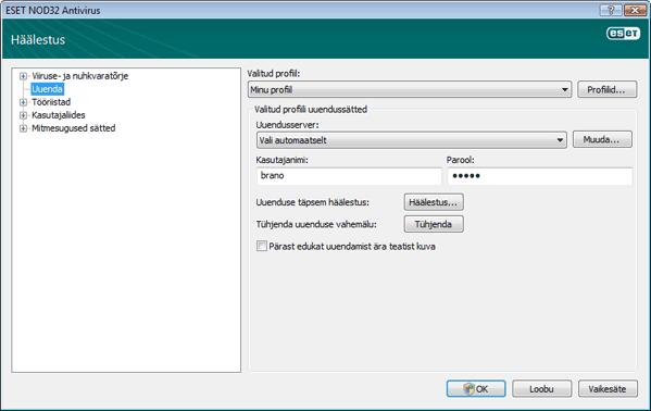 Nod32 ea config update source Värskenduse häälestus
