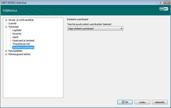 Nod32 ea config windows update Operatsioonisüsteemi värskendus – sätted