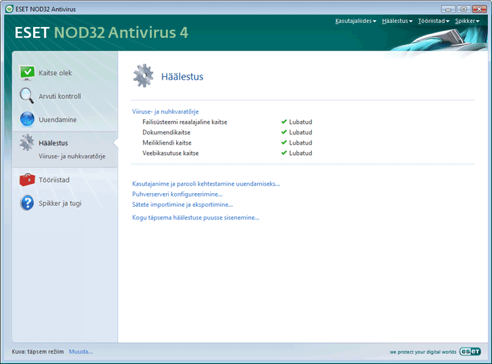 Nod32 ea page advanced settings Häälestus – täpsem režiim