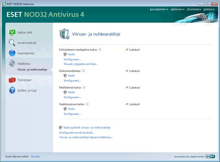 Nod32 ea page settings antivirus Viirusetõrje häälestus