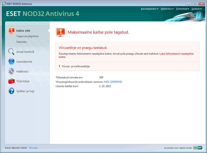 Nod32 ea page status 02 Mida teha, kui programm korralikult ei tööta?