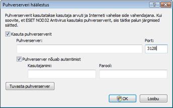 Nod32 ea proxy server Puhverserver – häälestus