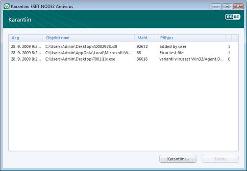 Nod32 ea quarantine window Karantiin – uus aken