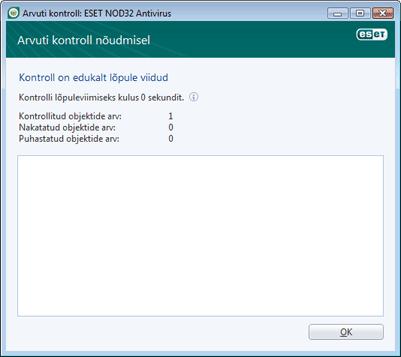 Nod32 ea scan finishwindow Kontroll on edukalt lõpule viidud